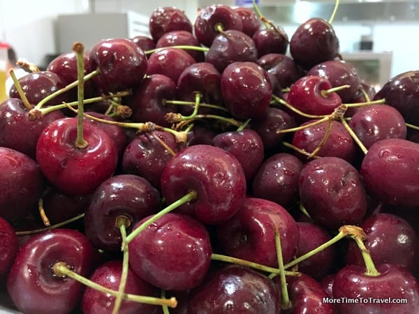 Bowl of fresh bing cherries