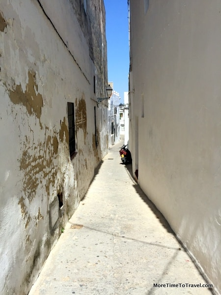 One of the narrow walkways