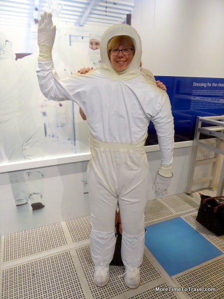 "Suited up in my ""clean suit"" at the Intel Museum in Santa Clara"