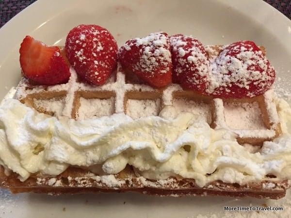 Belgian waffles with fresh strawberries on optional excursion in Antwerp, Belgium on AmaWaterways Sonata
