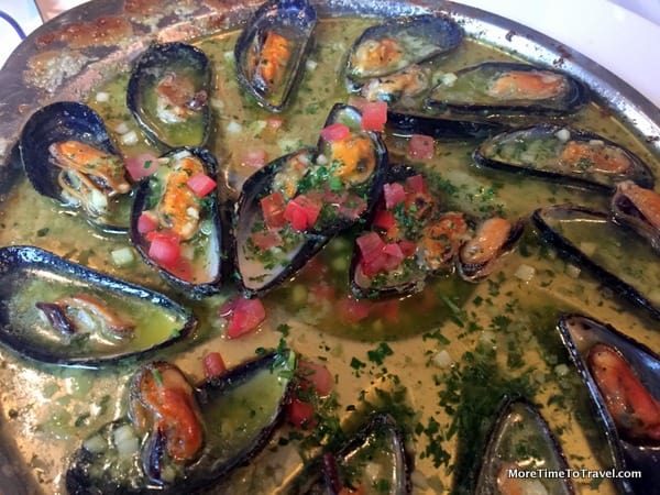 Mussels with tomato and garlic in Restaurant DeKoetze in Bruges, Belgium AWOL AmaWaterways Sonata excursion