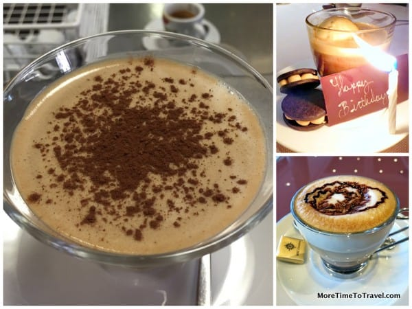 Illy Frozen Crema Cafe at Bar Pontremoli in Orvieto; Affogato at Marea in NYC; cappuccino on the MSC Divina