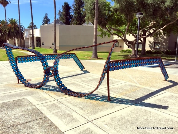 Whimsical sunglasse sculpture outside the Triton Museum of Art