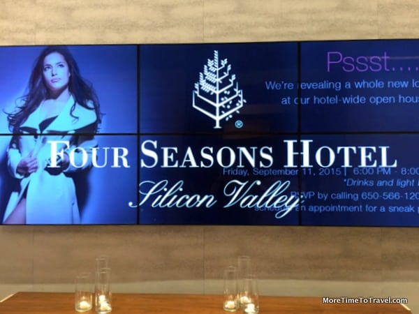 Electronic display board at Four Seasons Hotel Silicon Valley