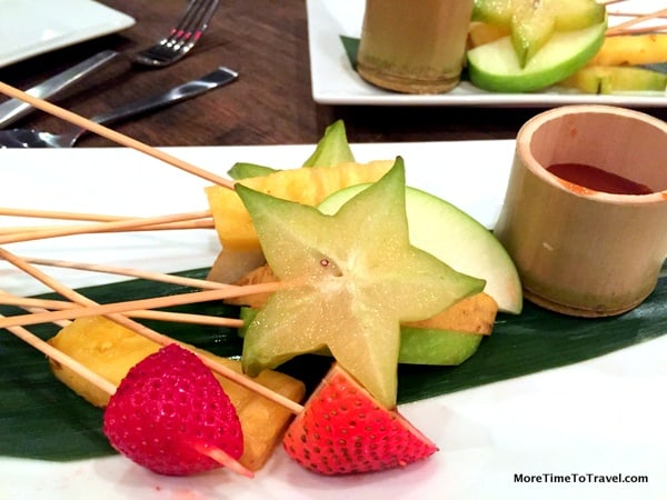 Refreshing fruit on skewers (in lieu of Fortune Cookies)