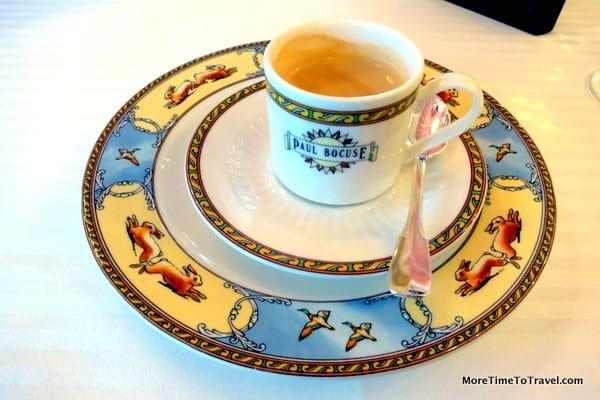 Elegant coffee service at Auberge du Pont de Collonges - The Paul Bocuse Restaurant in Lyon