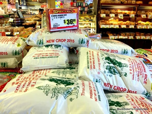 Industrial size sacks of rice