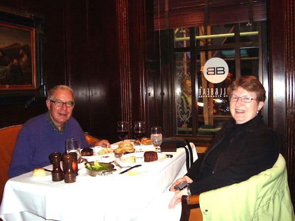 John and Sandra Nowlan at the Bull and Bear Steakhouse in the Waldorf-Astoria