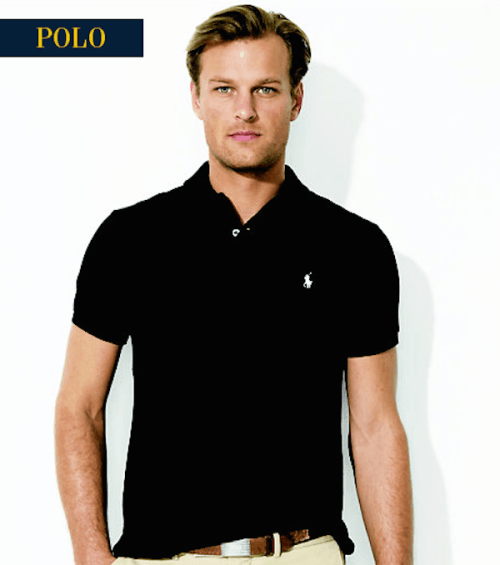 Black polo shirt for men (available from Ralph Lauren)