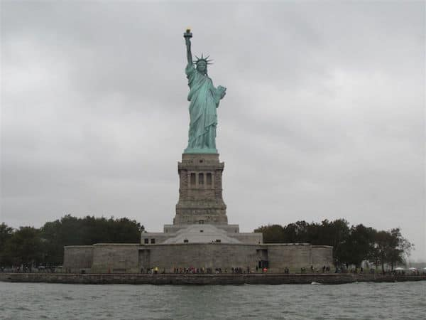 View of the Statue of Liberty from the water taxi
