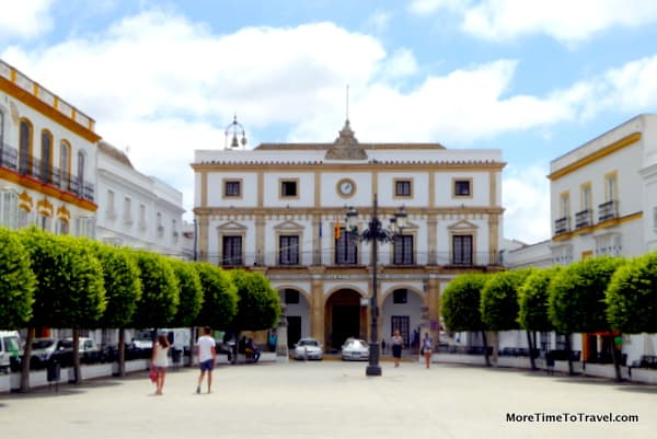 City Hall in the large square in Arcos, one of the white villages of Andalusia