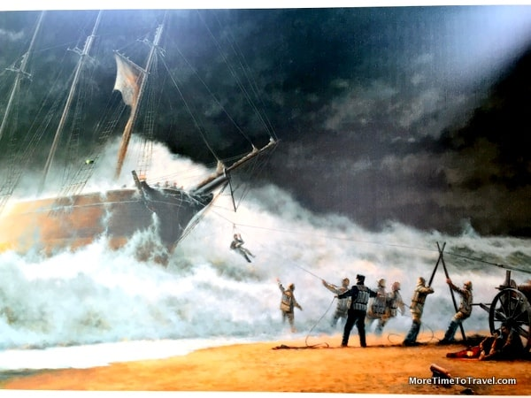 Portrayal of rescue in a storm
