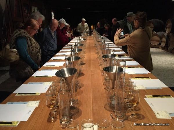 Tasting/blending table in the Camus barrel room