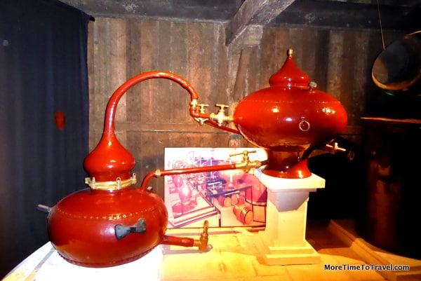Copper still pot on display at Camus
