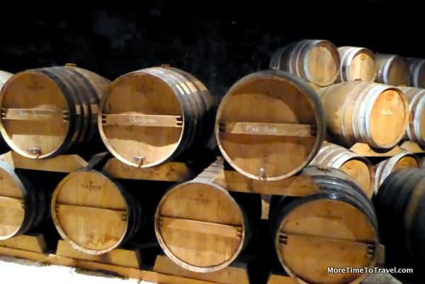 Oak barrels with different cognacs