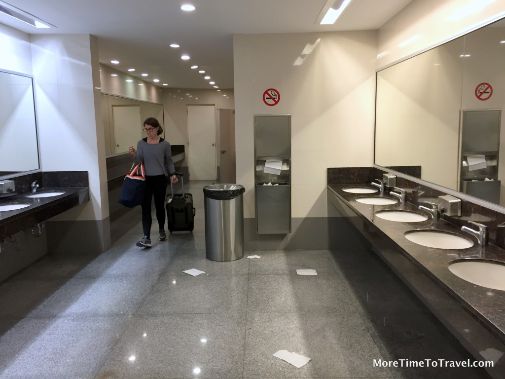 Ample bathrooms in Terminal 2 but floors can be littered or wet