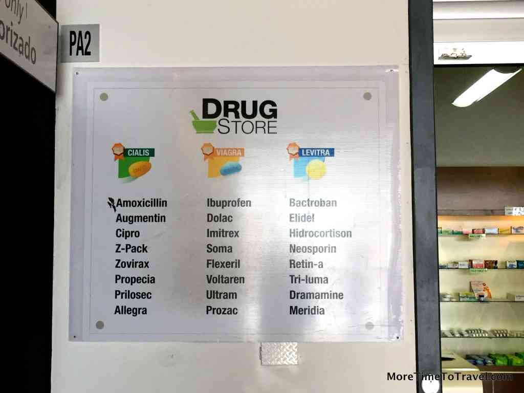 Sign outside one of two drugstores in Terminal 2