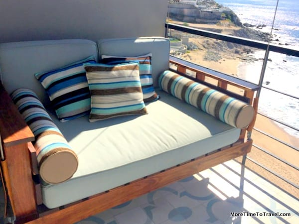The hanging daybed on our balcony
