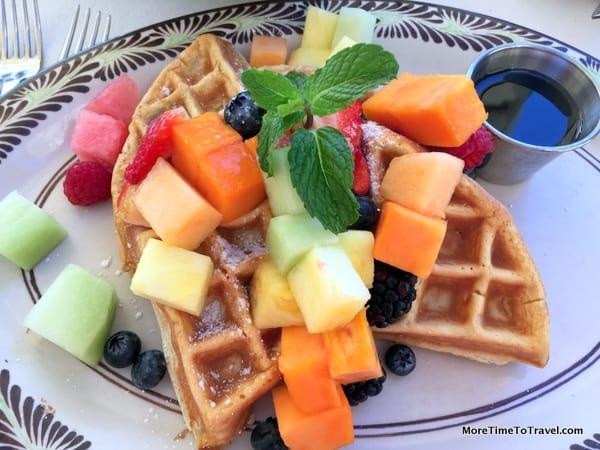 Waffle and mixed fresh fruit