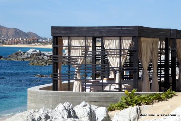 Outdoor massage area overlooking the sea