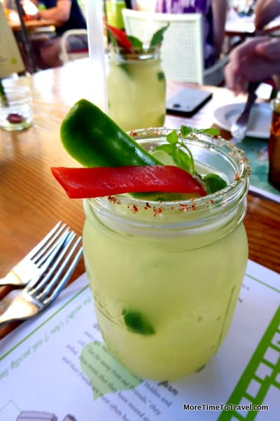 Jalapeno margarita served in a mason jar