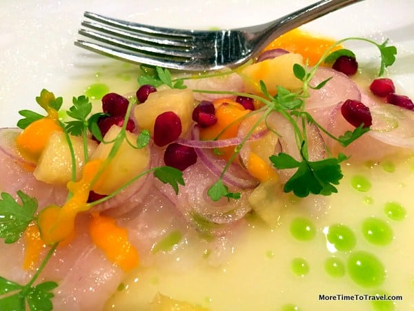 Tilefish ceviche with pineapple, sweet potato and pomegrante