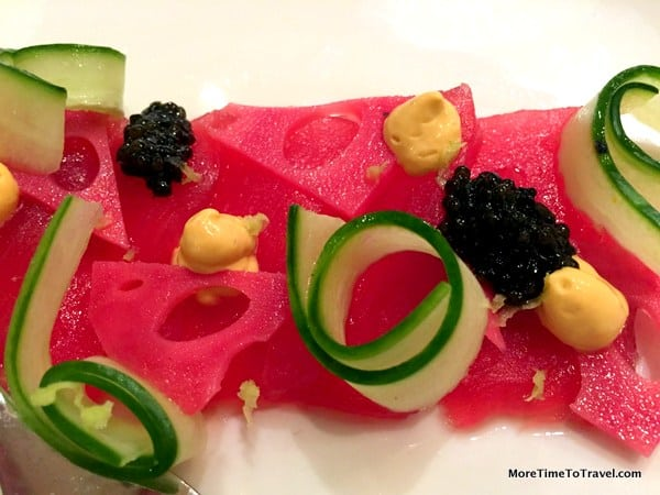 Yellowfin tuna with uni, oyster, wasabi root, cucumber and caviar at Area 31