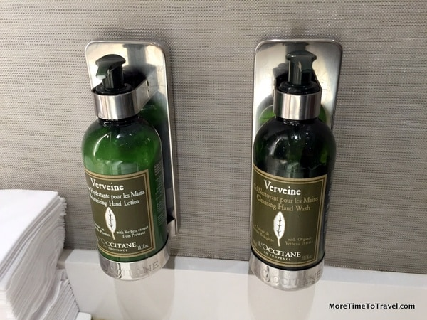 L'Occitane soap and lotion in the Centurion restroom