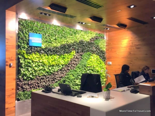 Living wall behind the reception desk at the Centurion Lounge at MIA