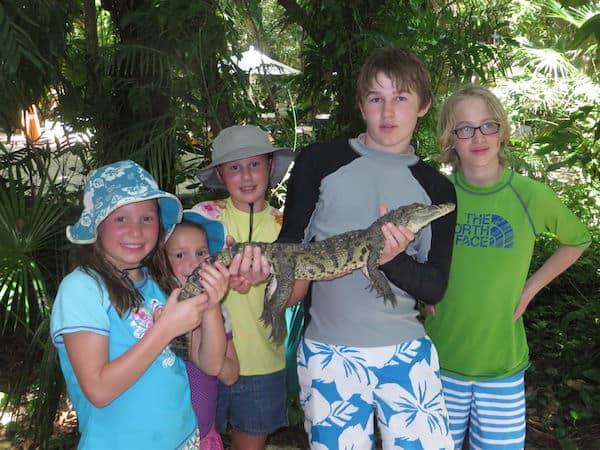 Five grandkids and croc in Mexico