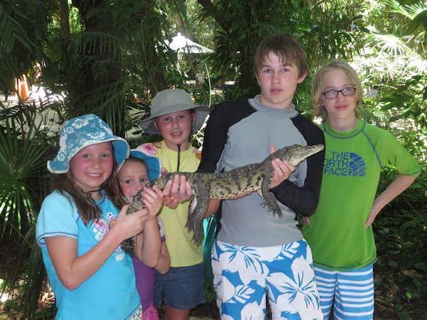 Five grandkids and croc in Mexico