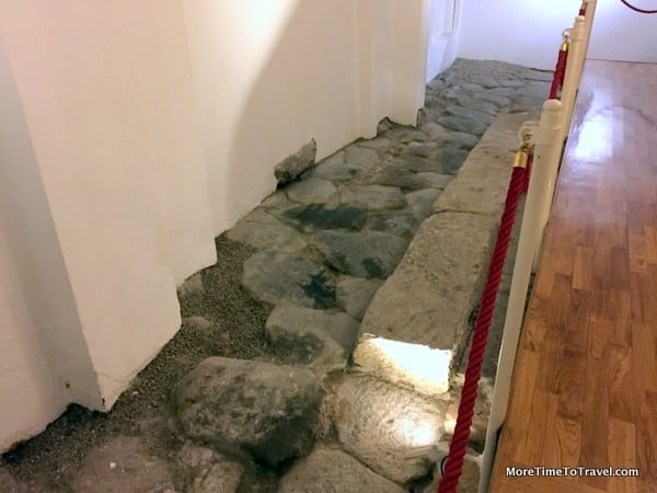 Preserved Roman Road excavated under the hotel