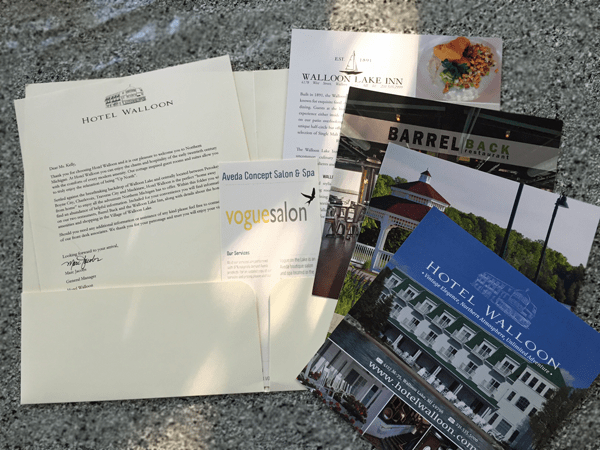 Hotel Walloon's Welcome Kit (mailed to my home) really whet my appetite.