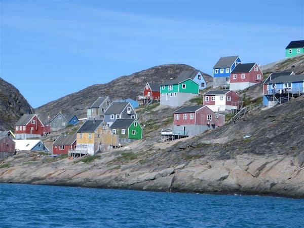 Kangaamiut, Greenland, built on rock