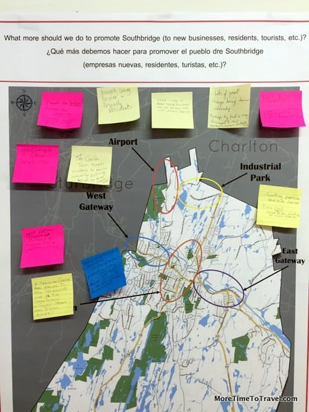 Local residents post suggestions to improve the town in one of the storefronts