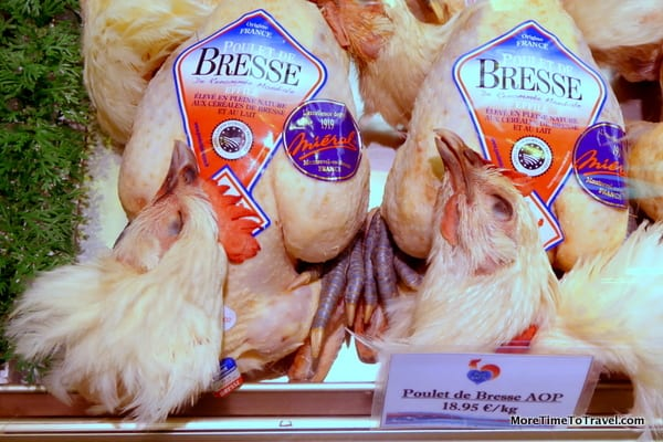Bresse chickens at the Bocuse Market in Lyon - thought to be the best in the world