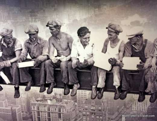 Mural of construction workers at Rockefeller Center on a break