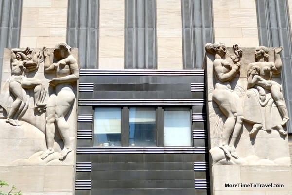 Leo Friedlander bas-reliefs at 49th Street entrance to 30 Rockefeller Plaza