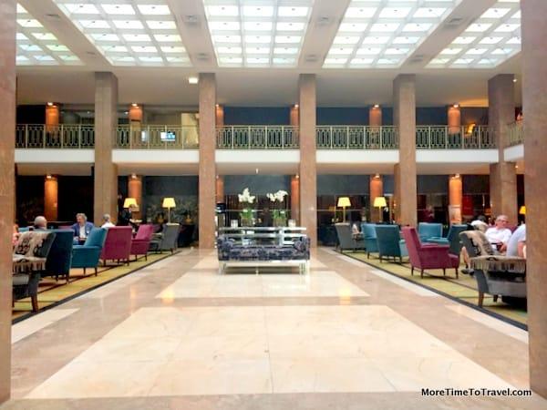 Light-filled hotel lobby
