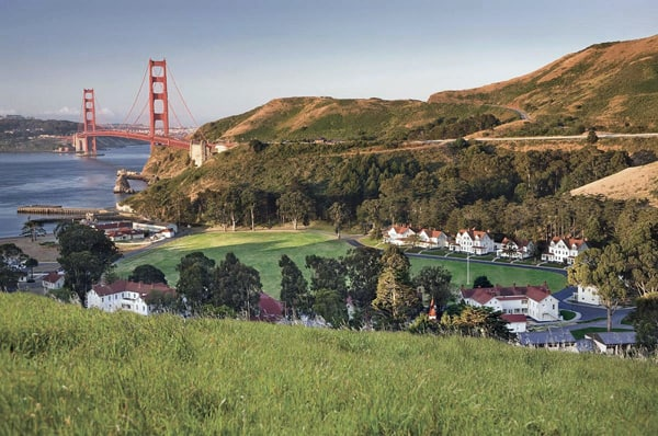 Overlooking Cavallo Point Lodge, on the former site of Fort Baker