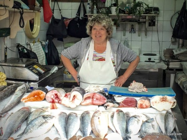 One of the female fishmongers at the market