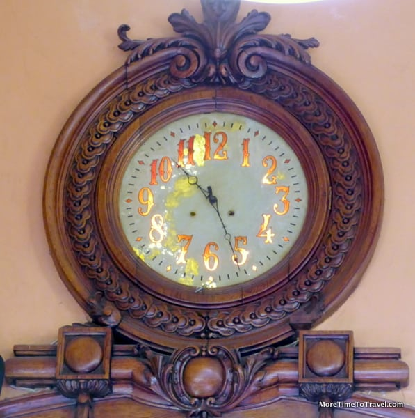 Clock at the rear of the room