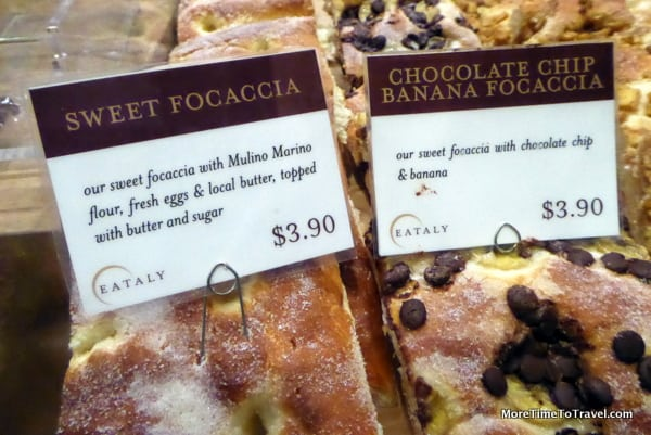 Chocolate chip focaccia at Italy that we didn't have time to buy