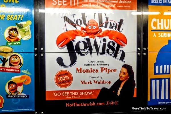 "Outside the theater at ""Not That Jewish"""