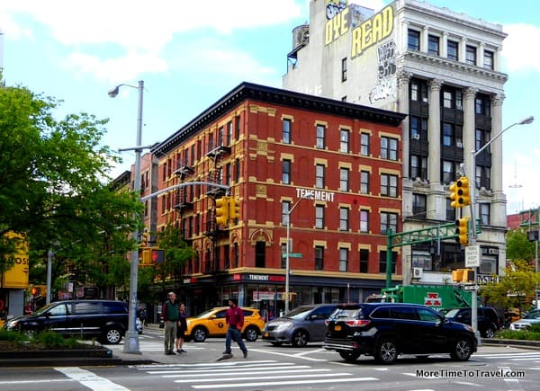 Exterior of the Tenement Museum at the corner of Orchard and Delancey Streets