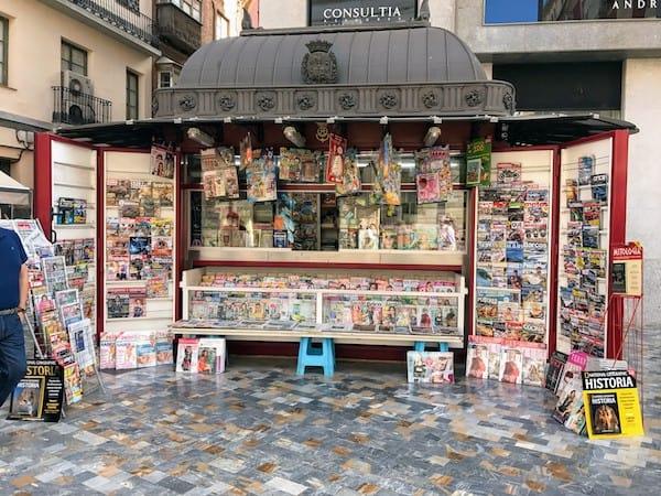 Colorful street kiosk