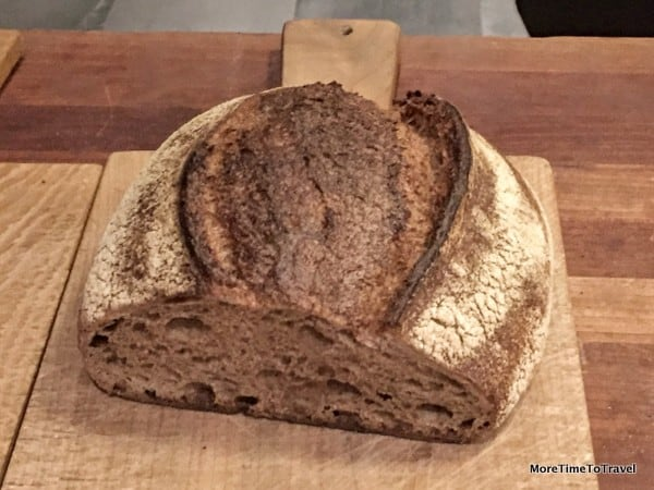 Wheat bread made with flour, salt and water