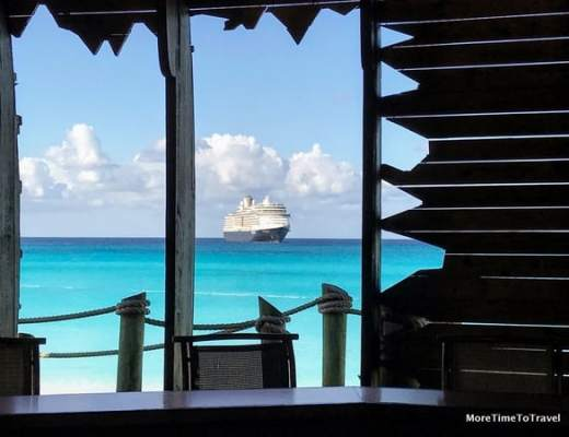 View of Holland America's Nieuw Amsterdam from Captain Morgan's Bar on Half Moon Cay