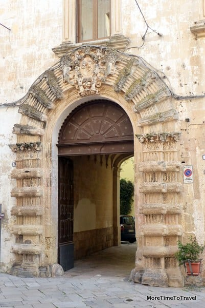 Ornate stone doorway in Galatina