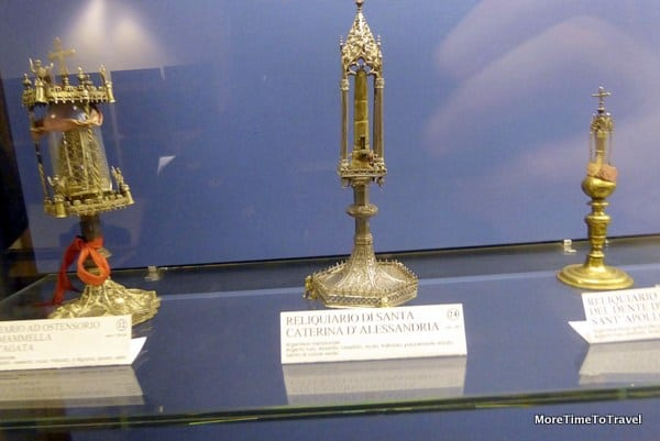 Catherine's finger and other relics in the museum in Galatina